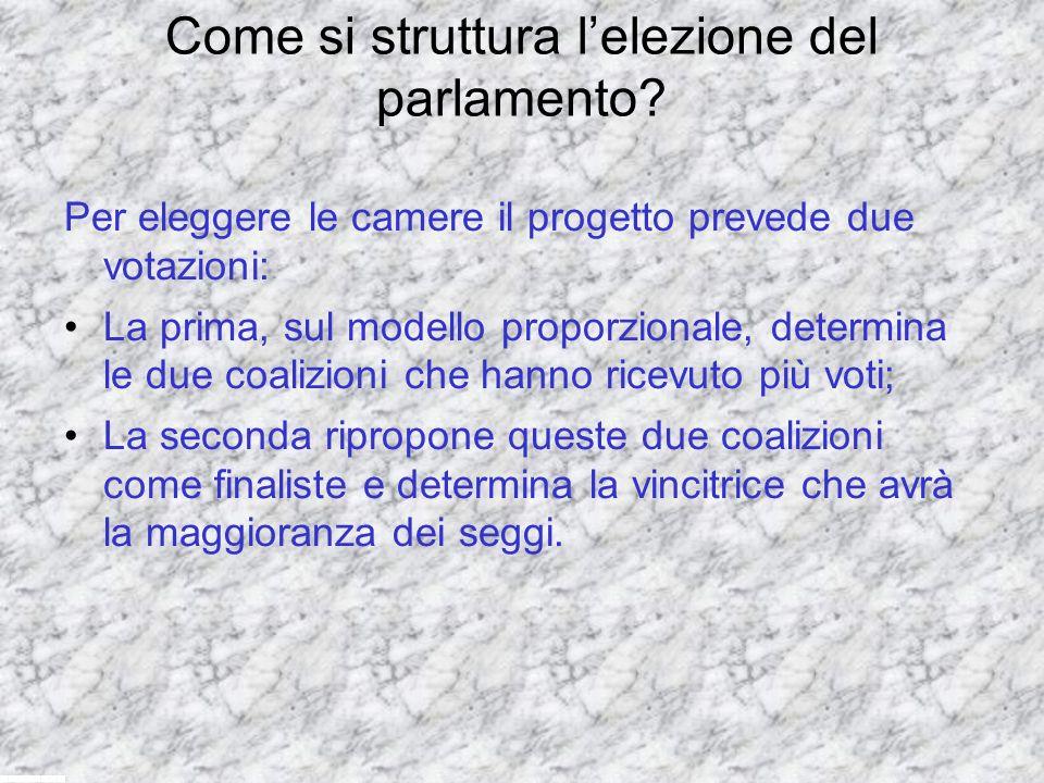 Come si struttura lelezione del parlamento? Per eleggere le camere il progetto prevede due votazioni: La prima, sul modello proporzionale, determina l