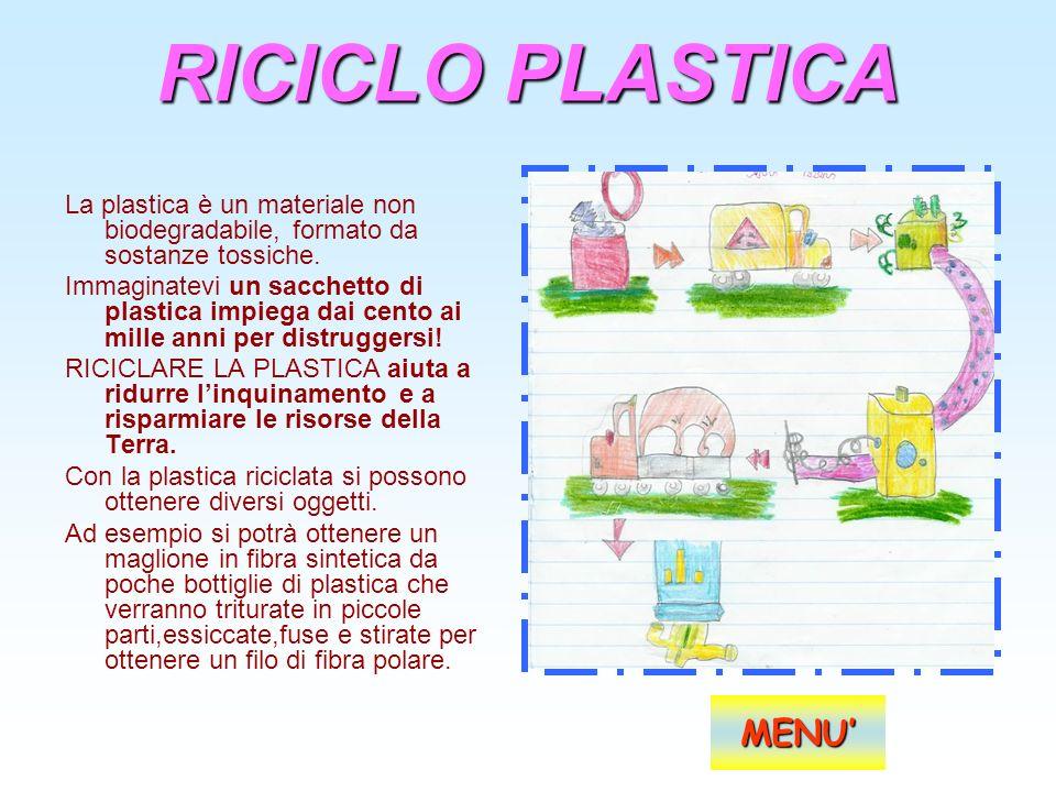 RICICLO PLASTICA La plastica è un materiale non biodegradabile, formato da sostanze tossiche. Immaginatevi un sacchetto di plastica impiega dai cento