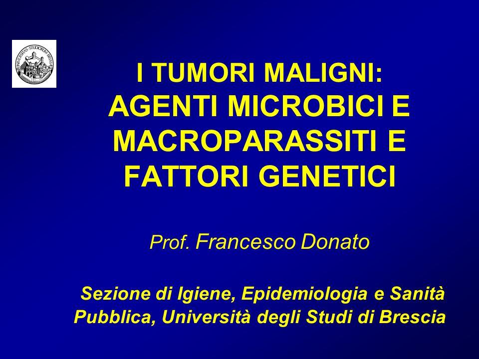 Il peso delle mutazioni genetiche ad alta penetranza: lesempio delle mutazioni BRCA 1 (B+) per il cancro della mammella (popolazione Caucasica) 10 000 donne 20 B+ 9 980 B- (0.2 %) 998 casi di cancro mammella 10 casi di cancro mammella R = 0.1 R = 0.5 Su 1 008 casi di cancro alla mammella 8 (1 %) sono attribuibili a BRCA 1