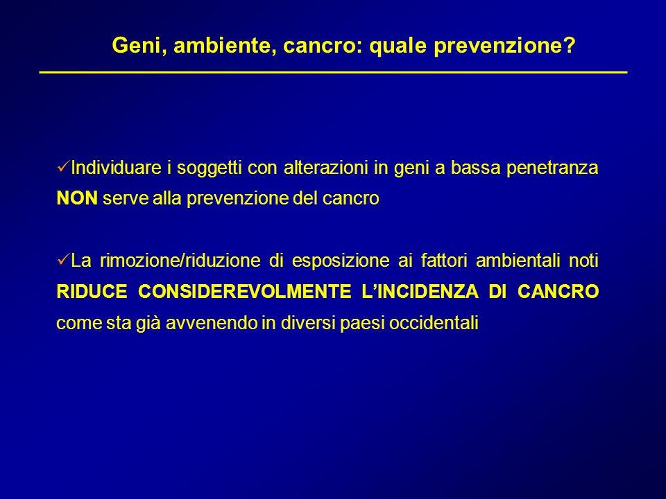 Geni, ambiente, cancro: quale prevenzione? Individuare i soggetti con alterazioni in geni a bassa penetranza NON serve alla prevenzione del cancro La