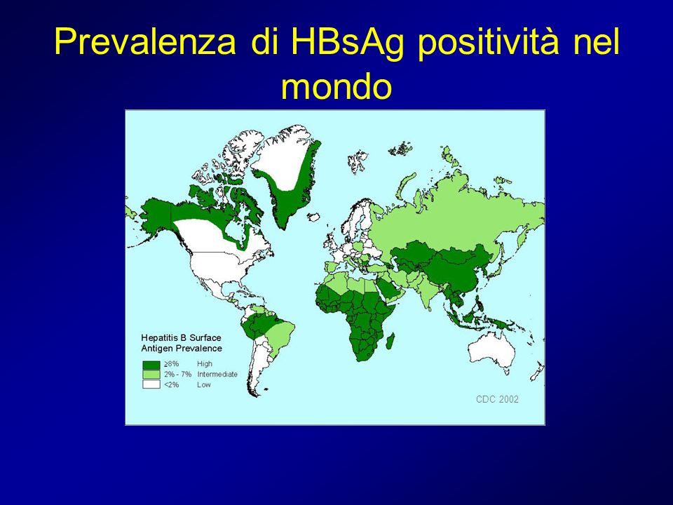 Prevalenza di HBsAg positività nel mondo CDC 2002