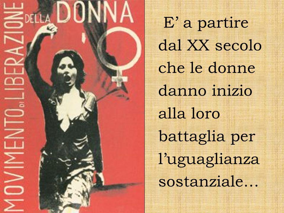 Nel 1948, la Costituzione Italiana, sancisce il principio di uguaglianza di genere : uomini e donne, in particolar modo nel mondo del lavoro, hanno diritto al medesimo trattamento.
