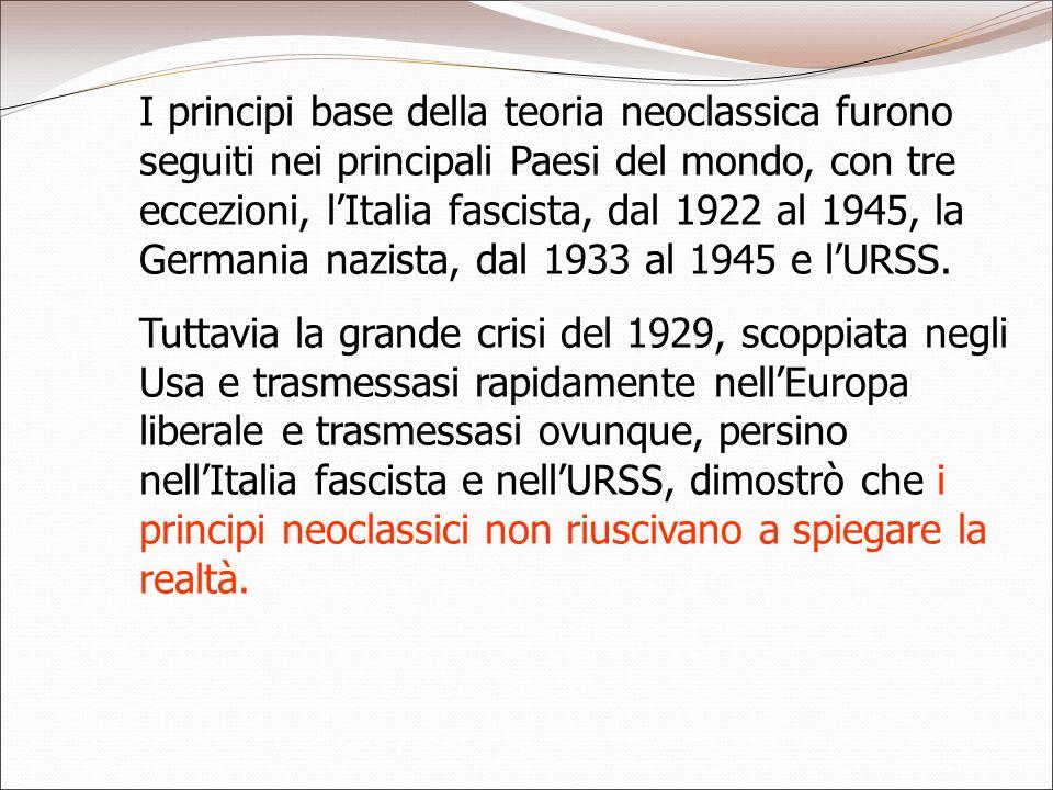 I principi base della teoria neoclassica furono seguiti nei principali Paesi del mondo, con tre eccezioni, lItalia fascista, dal 1922 al 1945, la Germ