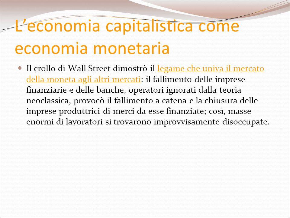 Leconomia capitalistica come economia monetaria Il crollo di Wall Street dimostrò il legame che univa il mercato della moneta agli altri mercati: il f