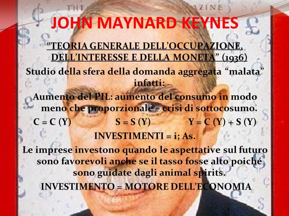 JOHN MAYNARD KEYNES TEORIA GENERALE DELLOCCUPAZIONE, DELLINTERESSE E DELLA MONETA (1936) Studio della sfera della domanda aggregata malata infatti: Au