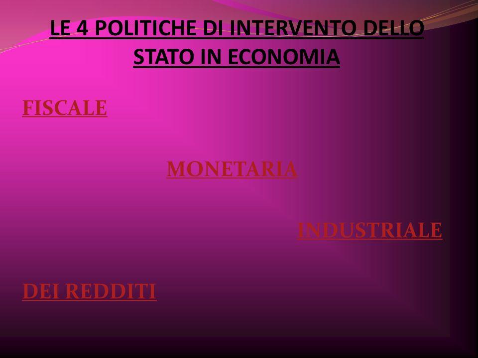 LE 4 POLITICHE DI INTERVENTO DELLO STATO IN ECONOMIA FISCALE MONETARIA INDUSTRIALE DEI REDDITI