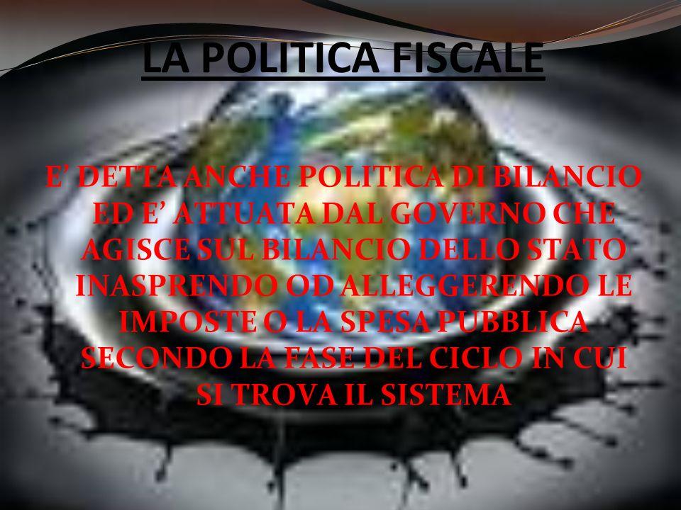 LA POLITICA FISCALE E DETTA ANCHE POLITICA DI BILANCIO ED E ATTUATA DAL GOVERNO CHE AGISCE SUL BILANCIO DELLO STATO INASPRENDO OD ALLEGGERENDO LE IMPO