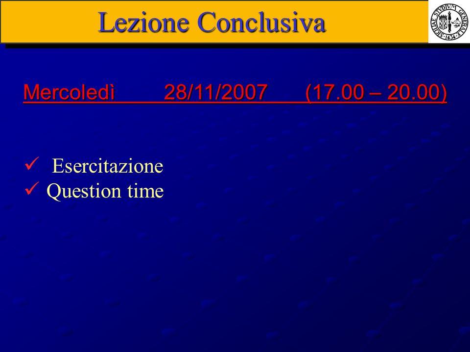 Lezione Conclusiva Esercitazione Question time Mercoledì 28/11/2007(17.00 – 20.00)