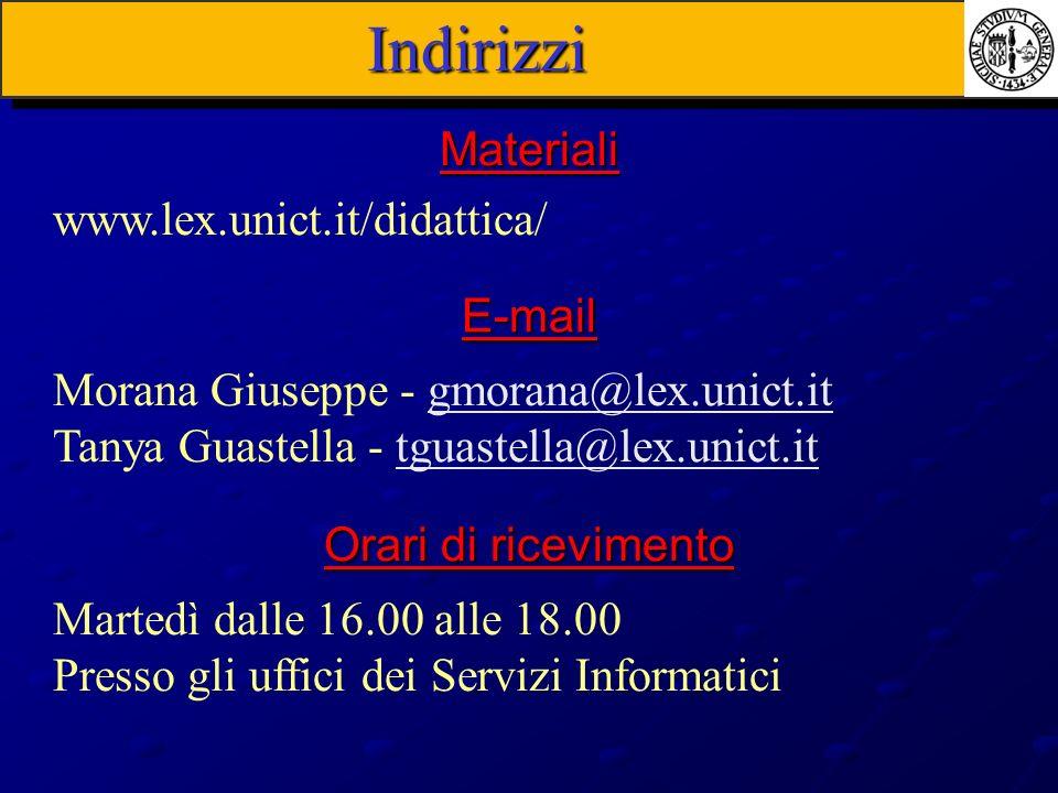 Indirizzi www.lex.unict.it/didattica/ Materiali Morana Giuseppe - gmorana@lex.unict.itgmorana@lex.unict.it Tanya Guastella - tguastella@lex.unict.ittg