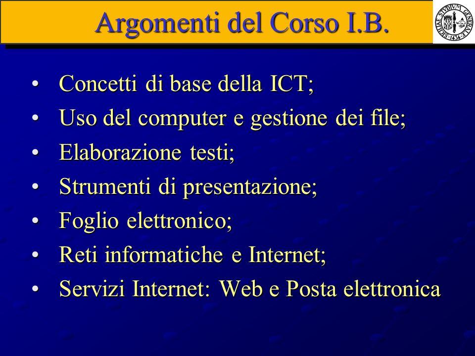 Concetti di base della ICT;Concetti di base della ICT; Uso del computer e gestione dei file;Uso del computer e gestione dei file; Elaborazione testi;E