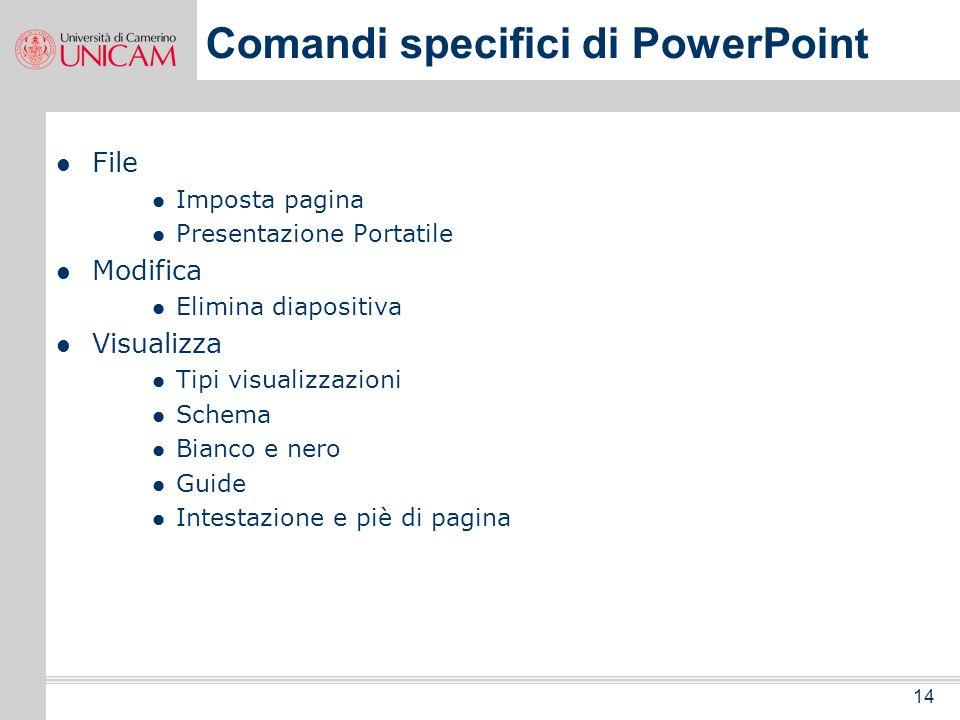 13 Programma seconda parte della giornata I comandi specifici di PowerPoint e le barre degli strumenti Creare una nuova presentazione Salvare una nuov