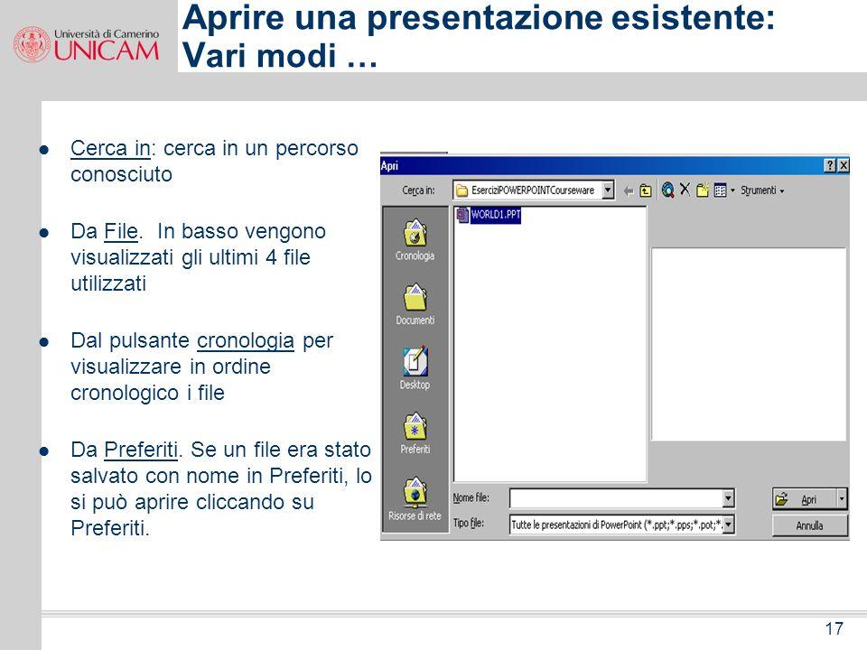 16 File Nuovo Presentazione vuota OK Layout automatico Solo Titolo ok Salvare file con nome --- PROVA Creare la prima presentazione Chiudere presentaz