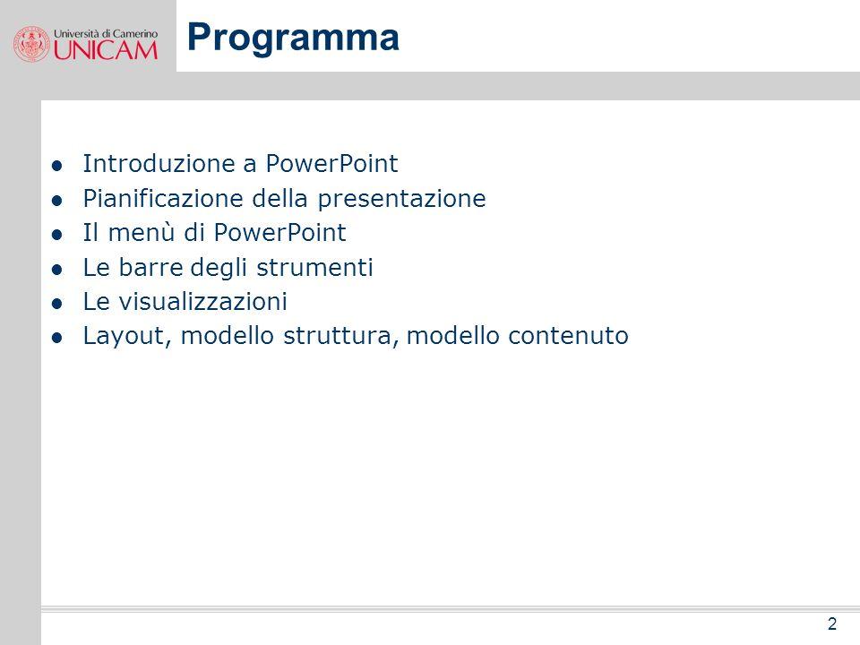 2 Programma Introduzione a PowerPoint Pianificazione della presentazione Il menù di PowerPoint Le barre degli strumenti Le visualizzazioni Layout, modello struttura, modello contenuto