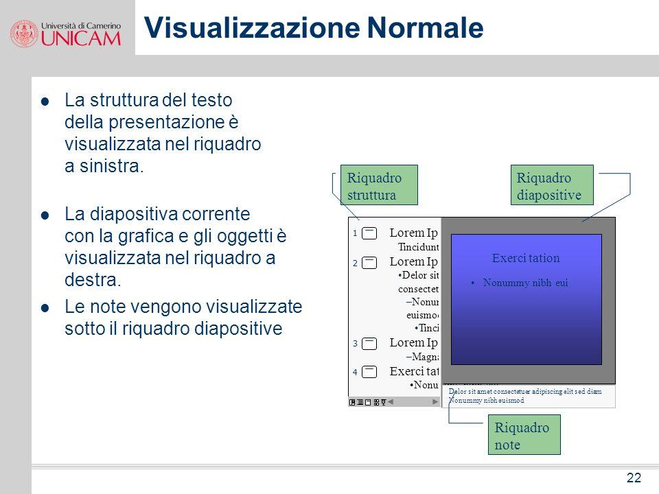 21 Visualizzazioni Le visualizzazioni consentono di creare e modificare una presentazione da diversi punti di vista. Le principali visualizzazioni son