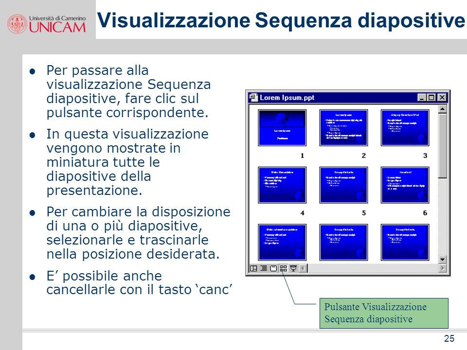 24 Nel riquadro struttura viene visualizzato il testo della presentazione senza alcuna grafica. Tale riquadro consente di digitare, modificare e riorg
