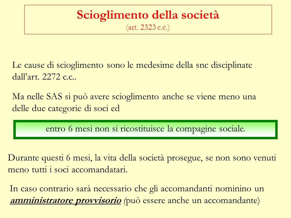 TRASFERIMENTO DELLA QUOTA (ART. 2322 c.c.) accomandatari Atto tra vivi: è necessario il consenso di tutti gli altri soci, accomandanti e accomandatari