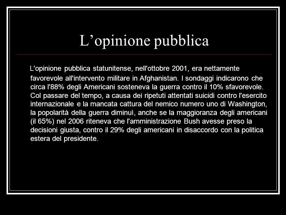 Lopinione pubblica L opinione pubblica statunitense, nell ottobre 2001, era nettamente favorevole all intervento militare in Afghanistan.