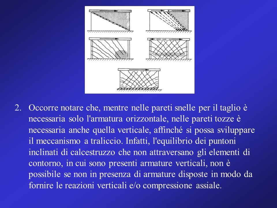 2.Occorre notare che, mentre nelle pareti snelle per il taglio è necessaria solo l'armatura orizzontale, nelle pareti tozze è necessaria anche quella