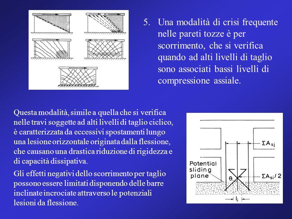 5.Una modalità di crisi frequente nelle pareti tozze è per scorrimento, che si verifica quando ad alti livelli di taglio sono associati bassi livelli