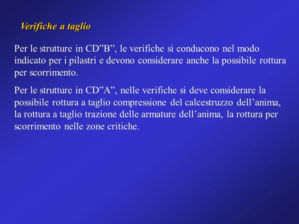 Verifiche a taglio Per le strutture in CDB, le verifiche si conducono nel modo indicato per i pilastri e devono considerare anche la possibile rottura