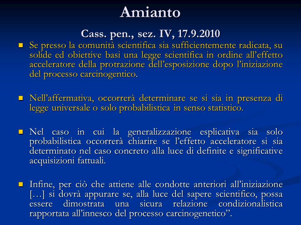 Amianto Cass., Sez.IV, ud. 10 giugno 2010, n.