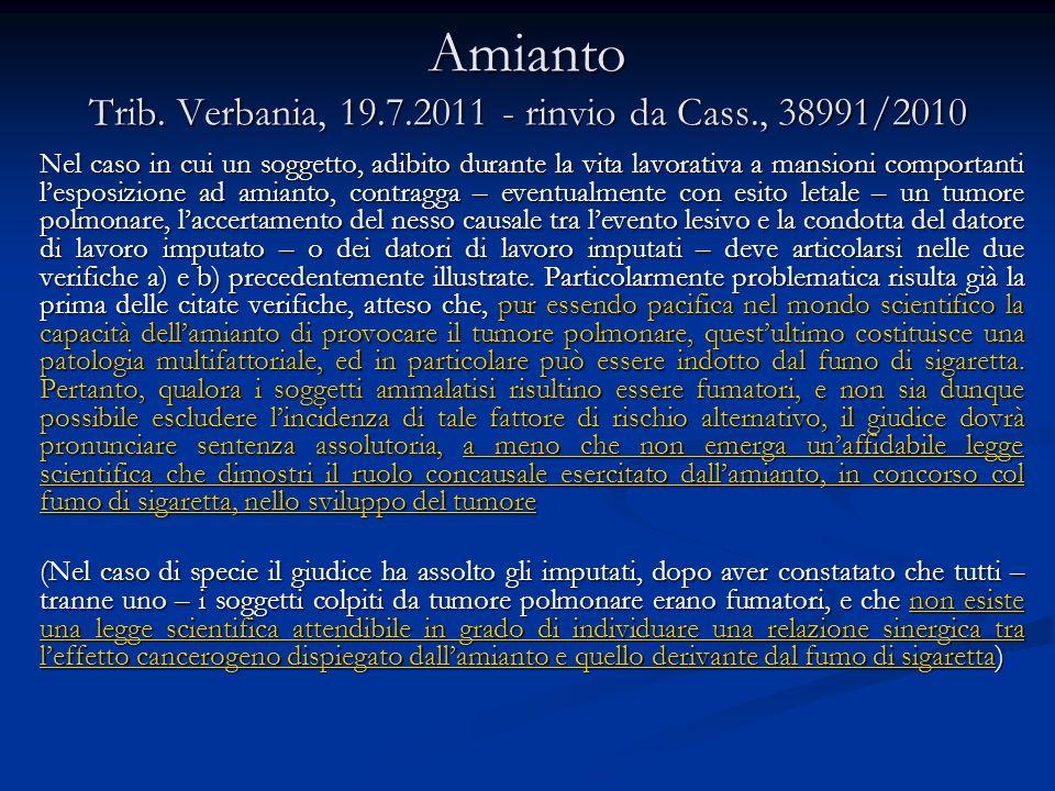 Amianto Cass., Sezione 4, 27 ottobre 2011, n.