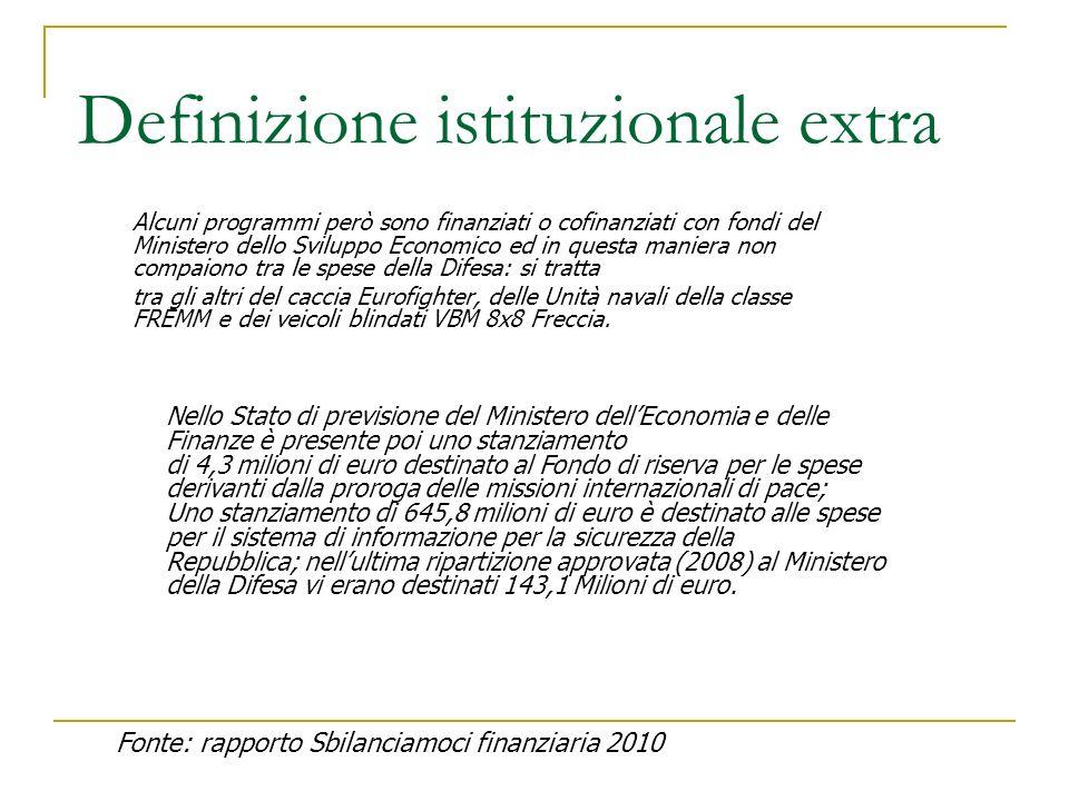 Definizione istituzionale extra Alcuni programmi però sono finanziati o cofinanziati con fondi del Ministero dello Sviluppo Economico ed in questa man