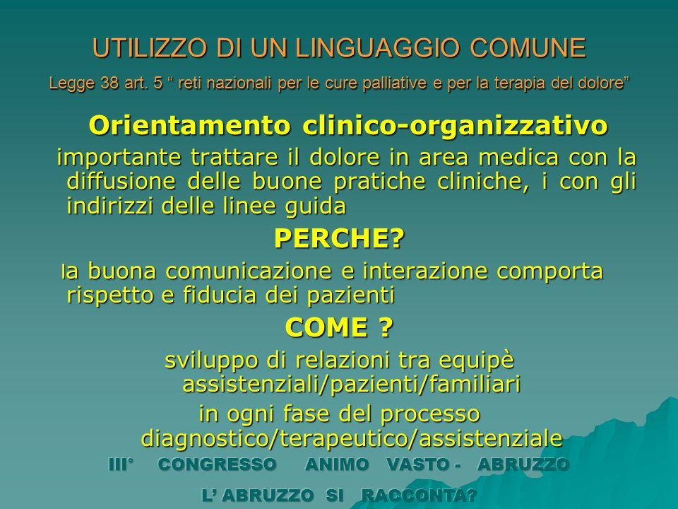 UTILIZZO DI UN LINGUAGGIO COMUNE Legge 38 art. 5 reti nazionali per le cure palliative e per la terapia del dolore Orientamento clinico-organizzativo