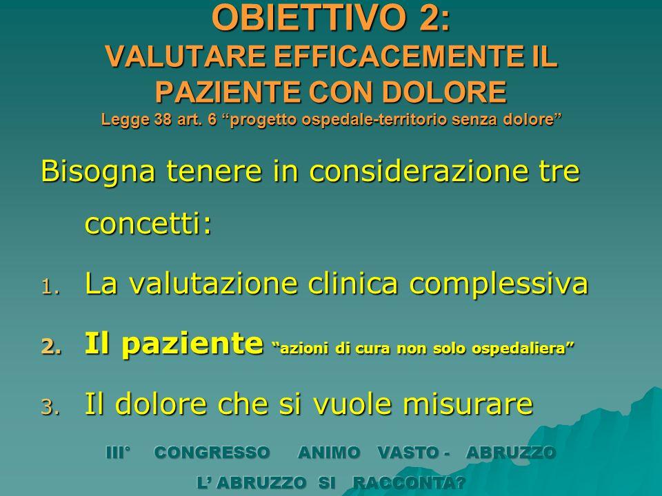 OBIETTIVO 2: VALUTARE EFFICACEMENTE IL PAZIENTE CON DOLORE Legge 38 art. 6 progetto ospedale-territorio senza dolore Bisogna tenere in considerazione