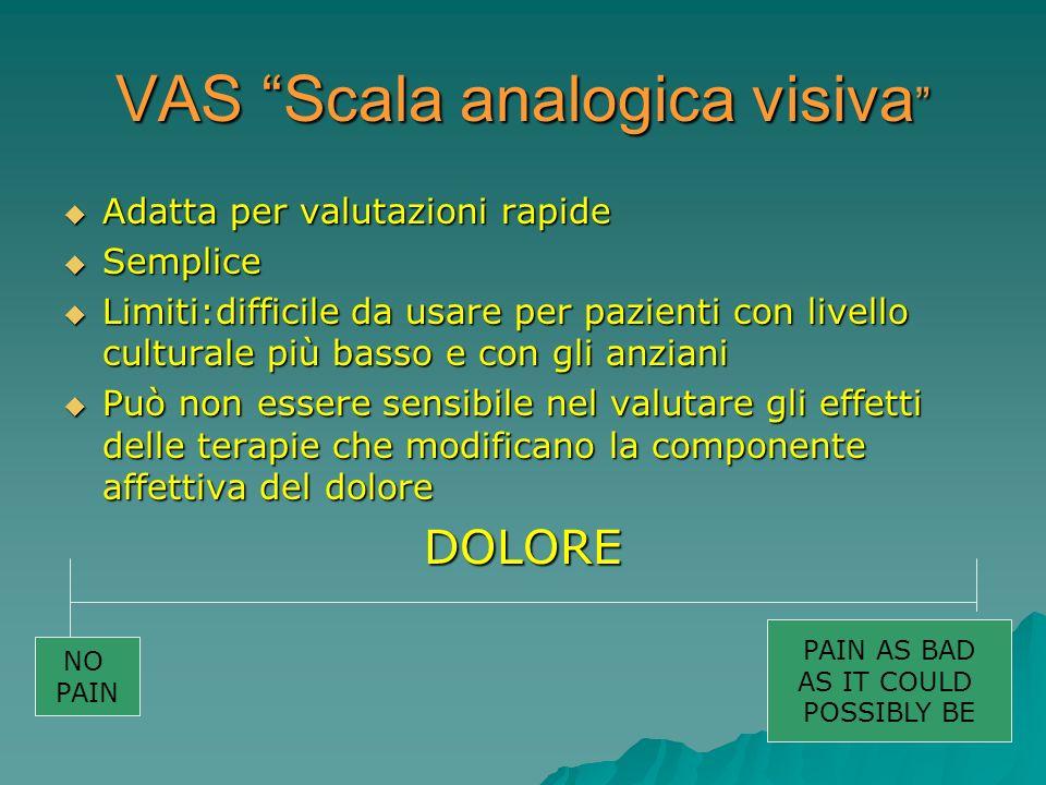 VAS Scala analogica visiva VAS Scala analogica visiva Adatta per valutazioni rapide Adatta per valutazioni rapide Semplice Semplice Limiti:difficile d