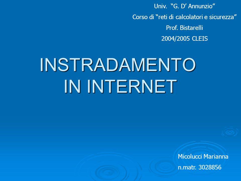 INSTRADAMENTO IN INTERNET Micolucci Marianna n.matr. 3028856 Univ. G. D Annunzio Corso di reti di calcolatori e sicurezza Prof. Bistarelli 2004/2005 C