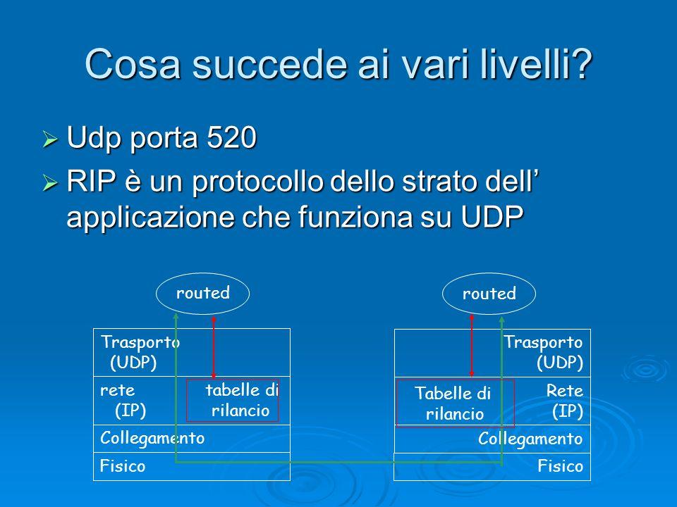 Cosa succede ai vari livelli? Udp porta 520 Udp porta 520 RIP è un protocollo dello strato dell applicazione che funziona su UDP RIP è un protocollo d