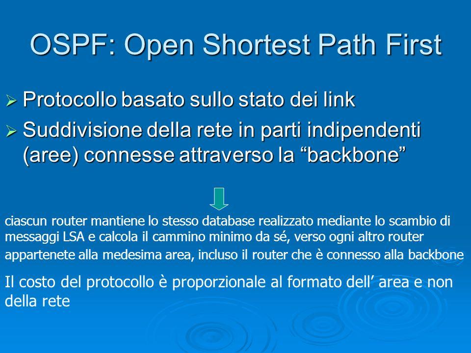 OSPF: Open Shortest Path First Protocollo basato sullo stato dei link Protocollo basato sullo stato dei link Suddivisione della rete in parti indipend