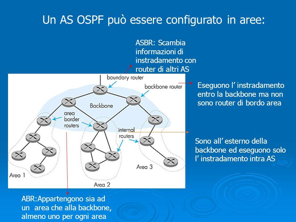 Un AS OSPF può essere configurato in aree: Sono all esterno della backbone ed eseguono solo l instradamento intra AS ABR:Appartengono sia ad un area c