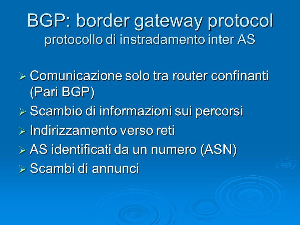 BGP: border gateway protocol protocollo di instradamento inter AS Comunicazione solo tra router confinanti (Pari BGP) Comunicazione solo tra router co