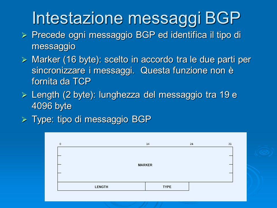 Intestazione messaggi BGP Precede ogni messaggio BGP ed identifica il tipo di messaggio Precede ogni messaggio BGP ed identifica il tipo di messaggio