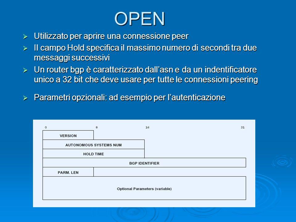 OPEN Utilizzato per aprire una connessione peer Utilizzato per aprire una connessione peer Il campo Hold specifica il massimo numero di secondi tra du