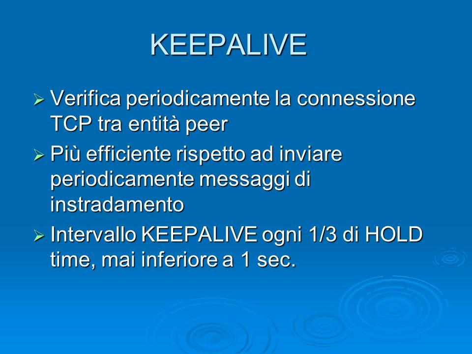 KEEPALIVE Verifica periodicamente la connessione TCP tra entità peer Verifica periodicamente la connessione TCP tra entità peer Più efficiente rispett