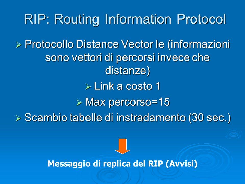 RIP: Routing Information Protocol Protocollo Distance Vector le (informazioni sono vettori di percorsi invece che distanze) Protocollo Distance Vector