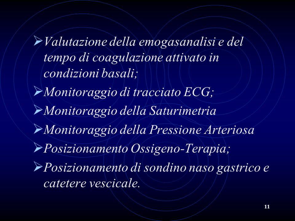 11 Valutazione della emogasanalisi e del tempo di coagulazione attivato in condizioni basali; Monitoraggio di tracciato ECG; Monitoraggio della Saturi