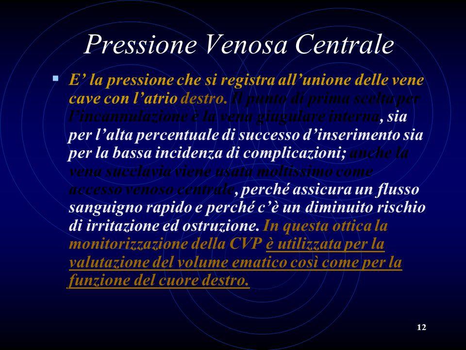 12 Pressione Venosa Centrale E la pressione che si registra allunione delle vene cave con latrio destro. Il punto di prima scelta per lincannulazione