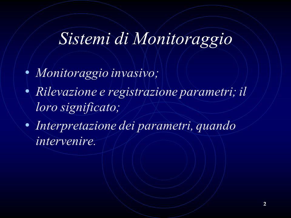 2 Sistemi di Monitoraggio Monitoraggio invasivo; Rilevazione e registrazione parametri; il loro significato; Interpretazione dei parametri, quando int