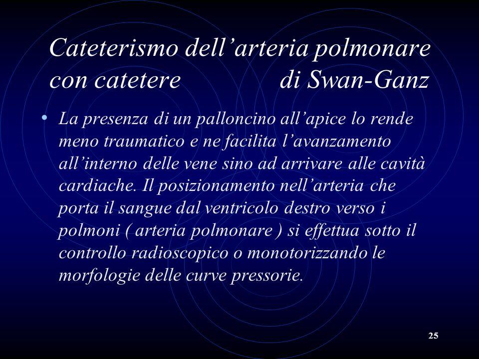 25 Cateterismo dellarteria polmonare con catetere di Swan-Ganz La presenza di un palloncino allapice lo rende meno traumatico e ne facilita lavanzamen