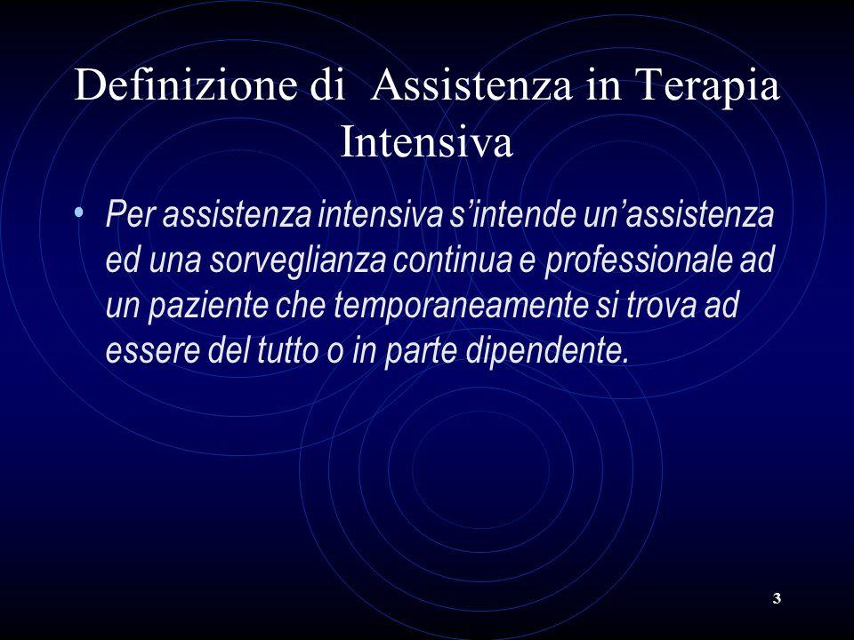 3 Definizione di Assistenza in Terapia Intensiva Per assistenza intensiva sintende unassistenza ed una sorveglianza continua e professionale ad un paz