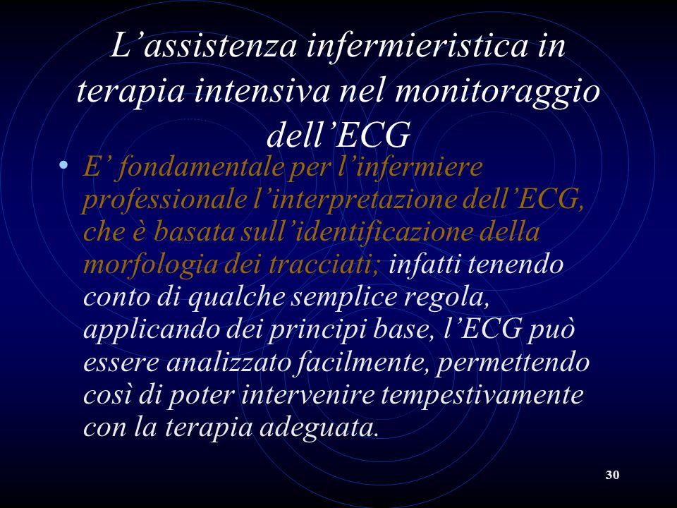 30 Lassistenza infermieristica in terapia intensiva nel monitoraggio dellECG E fondamentale per linfermiere professionale linterpretazione dellECG, ch