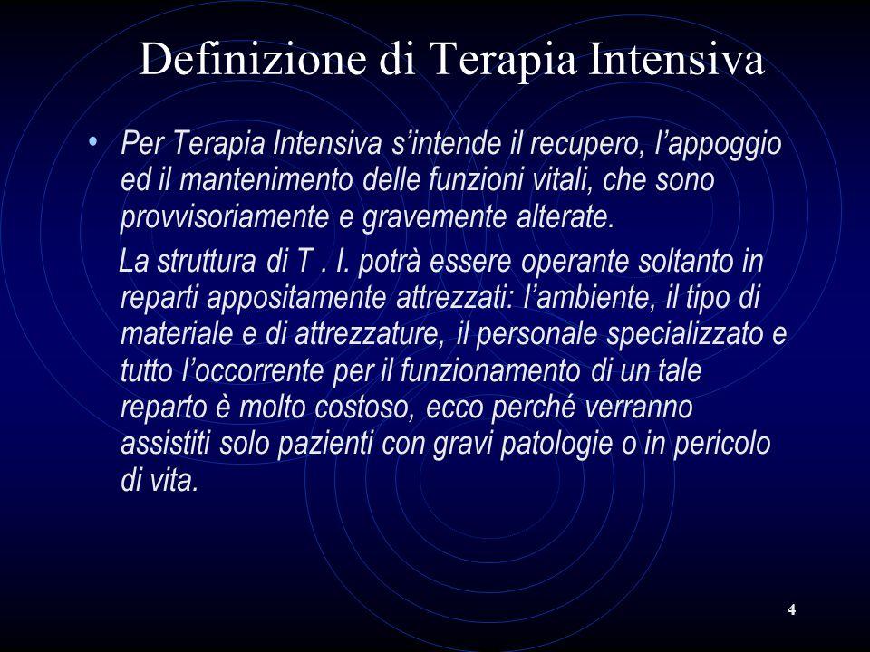 4 Definizione di Terapia Intensiva Per Terapia Intensiva sintende il recupero, lappoggio ed il mantenimento delle funzioni vitali, che sono provvisori