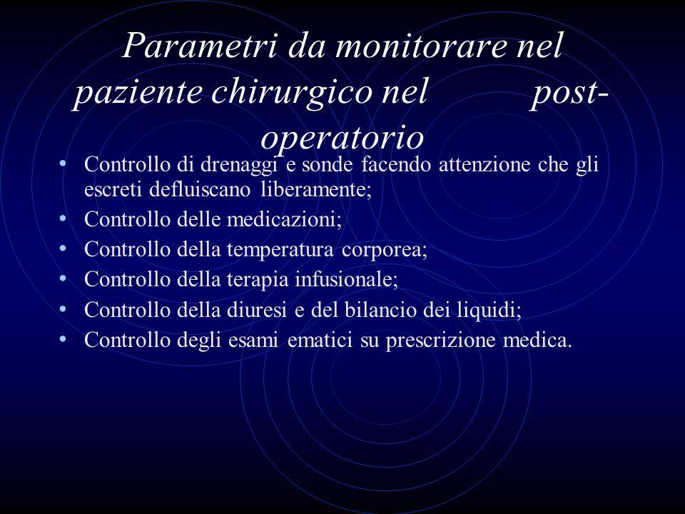Parametri da monitorare nel paziente chirurgico nel post- operatorio Controllo di drenaggi e sonde facendo attenzione che gli escreti defluiscano libe