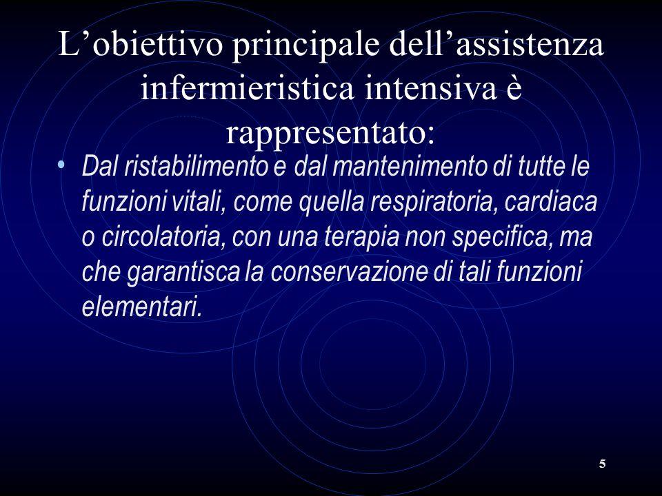 5 Lobiettivo principale dellassistenza infermieristica intensiva è rappresentato: Dal ristabilimento e dal mantenimento di tutte le funzioni vitali, c
