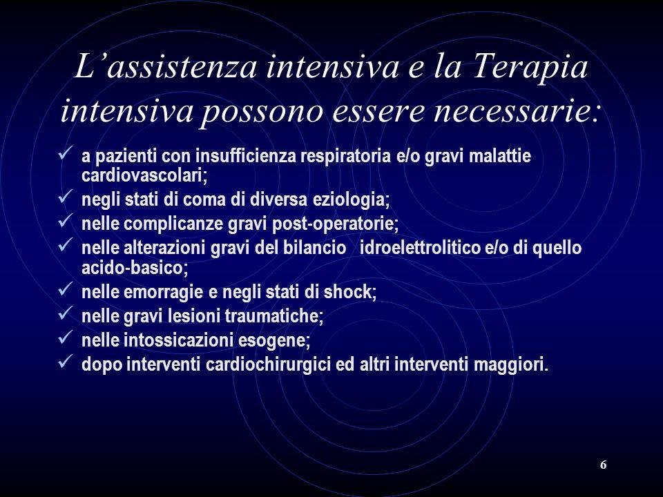6 Lassistenza intensiva e la Terapia intensiva possono essere necessarie: a pazienti con insufficienza respiratoria e/o gravi malattie cardiovascolari