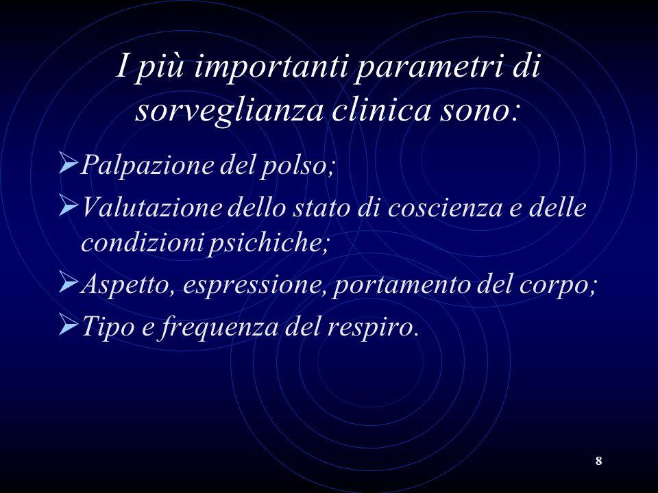 8 I più importanti parametri di sorveglianza clinica sono: Palpazione del polso; Valutazione dello stato di coscienza e delle condizioni psichiche; As